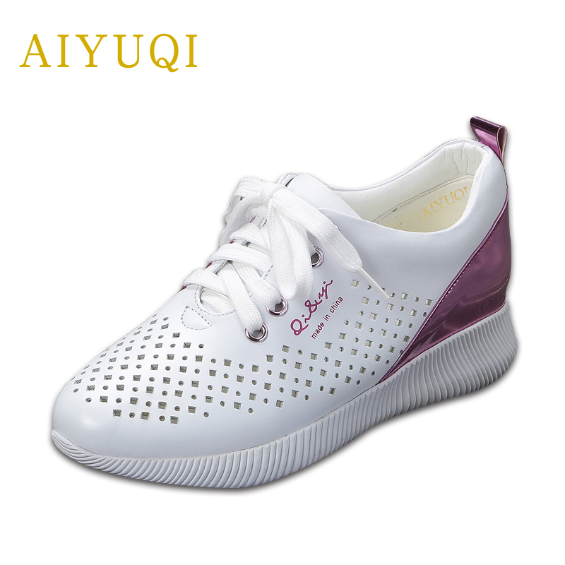 AIYUQI New summer shoes for women 2018 genuine leather flat shoes lady loafers climbing number 34 casual mesh sneakers women instantarts women flats emoji face smile pattern summer air mesh beach flat shoes for youth girls mujer casual light sneakers