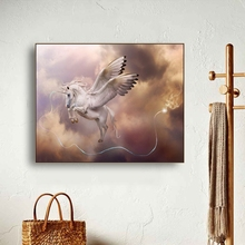 Winged Unicorn Lightning Canvas Painting Calligraphy Poster and Prints Living Room House Wall Decor Art Home Decoration Picture