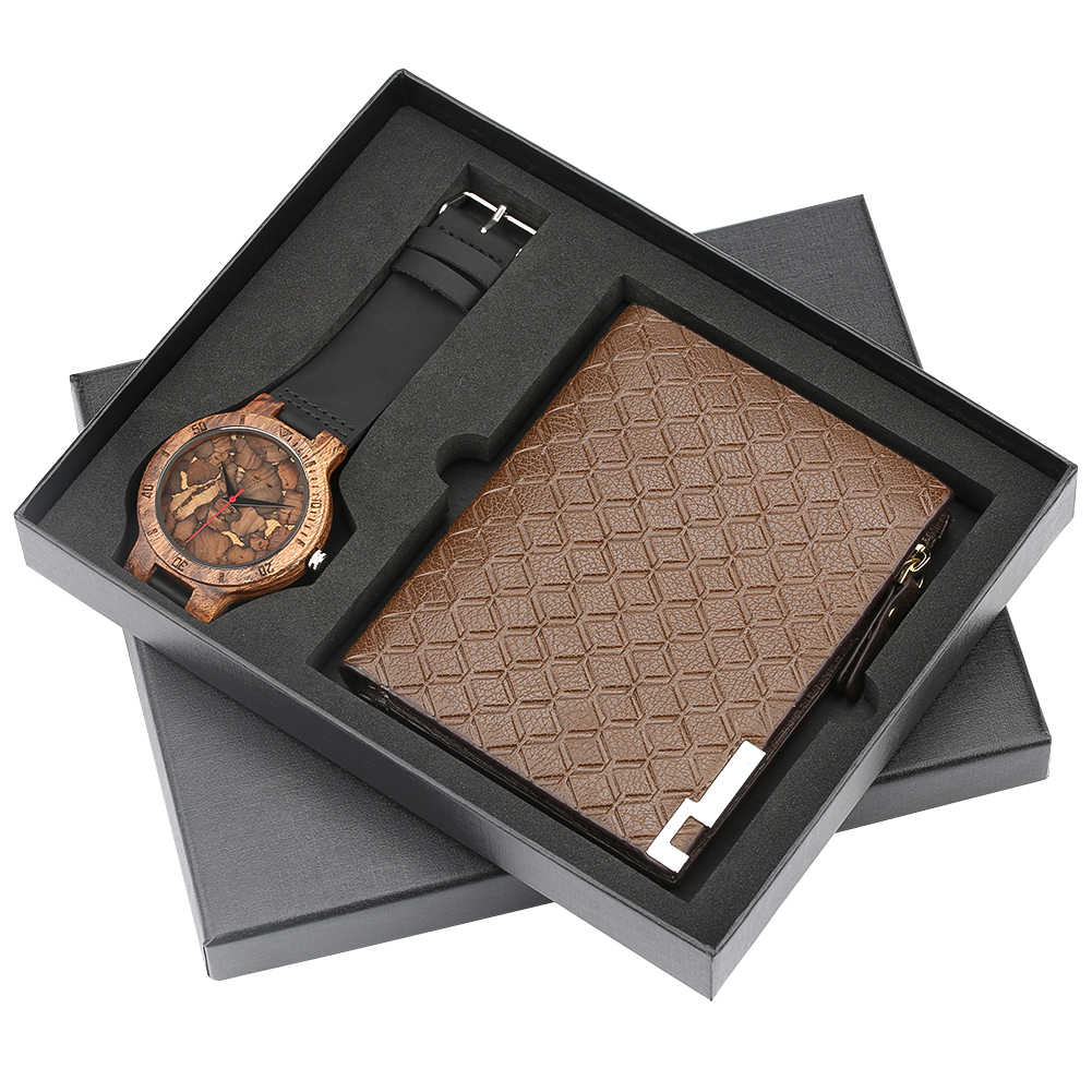 Business Men's Quartz Wristwatch Men Watches Purses Money Clip Credit Card Leather Wallet Gift Set for Dad Boyfriend Top Luxury