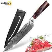 Кухонный нож 8 дюймов поварские ножи 7CR17 440C из высокоуглеродистой японской нержавеющей стали имитированный дамасский шлифовальный лазерны...