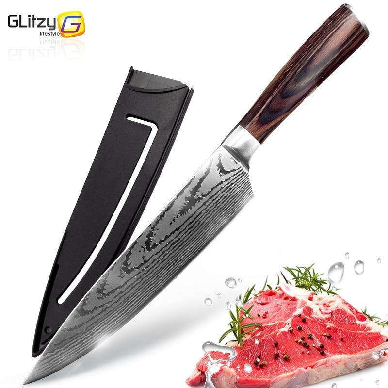 Küche messer 8 zoll Chef Messer 7CR17 440C Hohe Carbon Japanischen Edelstahl Imitiert Damaskus Schleifen Laser Muster Santoku