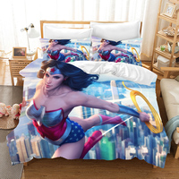 3D Cartoon movie game character bedding set Duvet Covers Wonder Woman Pillowcases comforter bedding sets bedclothes bed linen