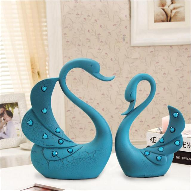 resin craft wedding gift love for blue swan ornaments creative home