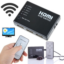 Mini 10% to 85% RH 2.5Gbps/250MHz IR Remote 5 Port HDMI Switch 5-in-1 5*1 Switcher Splitter for HDTV 1080P Vedio