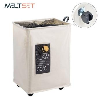 Cesta de almacenamiento plegable con ruedas bolsa grande organizadora cesta de lavandería para juguetes de ropa sucia