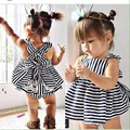 2016 Summer Vestidos Dresses Princess Stripe Baby Clothing Girl Dress Brand Clothes Costumes Lace Dress and Shorts 2 pieces Suit