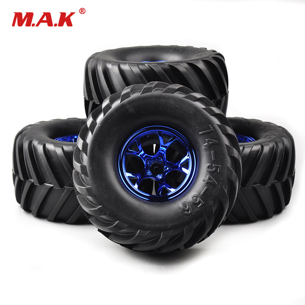 4Pcs/Set Rubber 135mm Tires & Wheel Rims 12mm Hex For RC Car 1:10 Rc Bigfoot Monster Truck