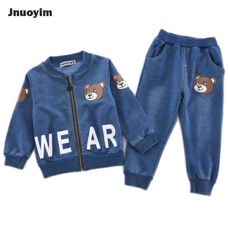 цена на 2017 New Arrival Spring Autumn Children Clothing Sets Cute Bear Design Denim Blue Boys Clothes Kids Outerwear Coat Pant 2pcs Set