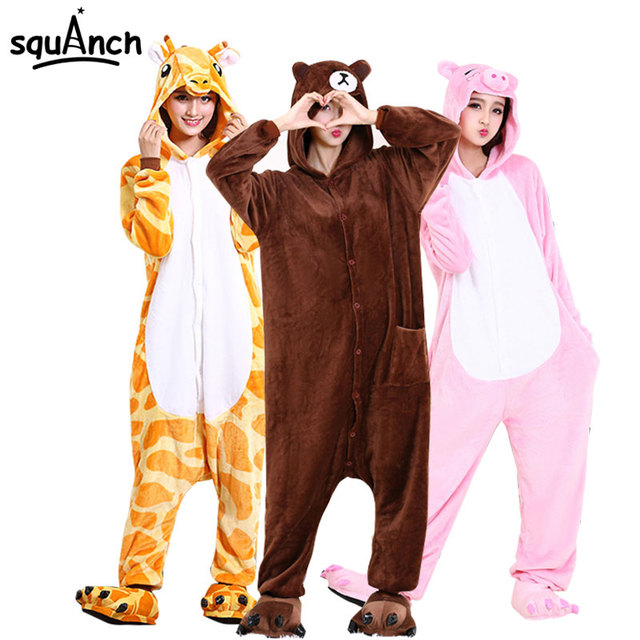 Animal Onesie Cartoon Costume High Quality Pajama Women Men Adult Sleep Overalls Unicorn Bear Carnival Party Suit  Soft