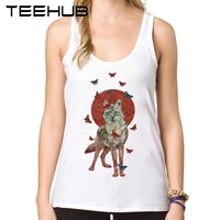 Lady Butterfly Women Tank Tops Fashion Wolf Printed Girl's Summer Camisoles Lovely Ladies' O-Neck Slim Vest