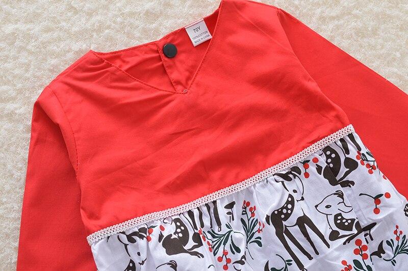 Новинка 2017 года Рождество Красный Длинные рукава шить типа девочек соединены ребенка Одежда для девочек