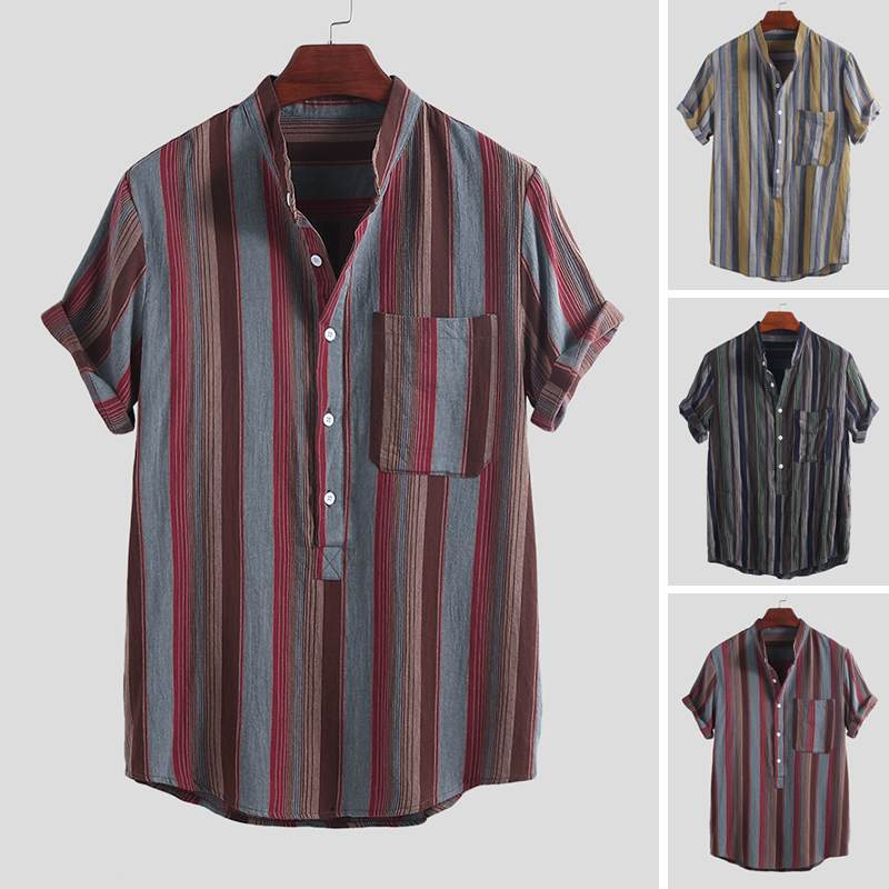 Summer Men Brand Shirt Vintage Striped Stand Collar High Quality Street Short Sleeve Blouse Vacation Beach Casual Shirt Men 2019