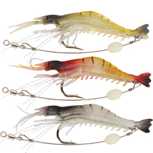 Goture luminous shrimp lure soft fishing bait isca artificial fish lure soft baits 5pcs