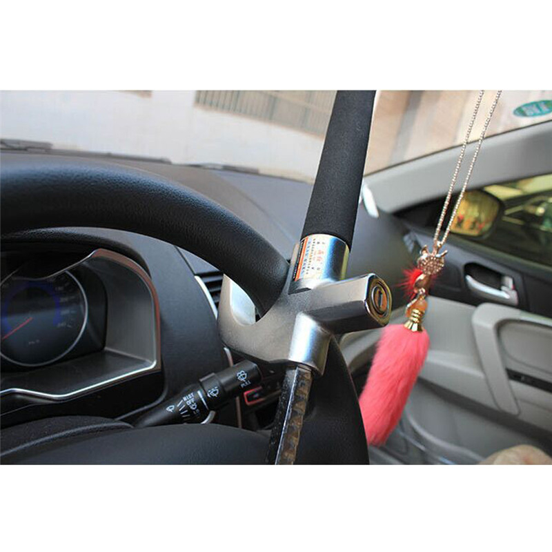 Encell Pratical Universal Car Folding Steering Wheel Lock Stainless Steel Alloy Car Parking Safety Styling Accessories