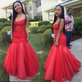 Rojo sirena vestidos de dama de honor larga sin tirantes backless elegante barato vestidos de fiesta apliques vestido de dama de honor de novia de encaje