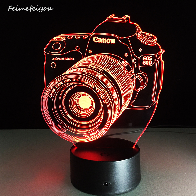 The new lampada led entertainment camera 3D lamp LED colorful atmosphere remote control vision stereo lamp custom acrylic lamp