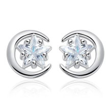Star Moon Stud Earrings for Women pentagram Crystal Small Silver Lovely Heart Shape Party Girlfriend