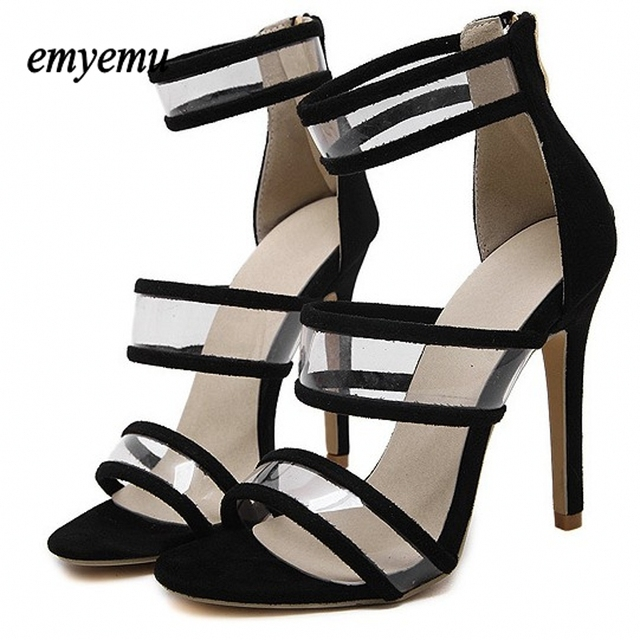 Fashion Platform High Heels PVC Sexy Women Pump Shoes Sandals Cut Outs Shoes Summer Open Toe sexy Girl  party heels Plus size40