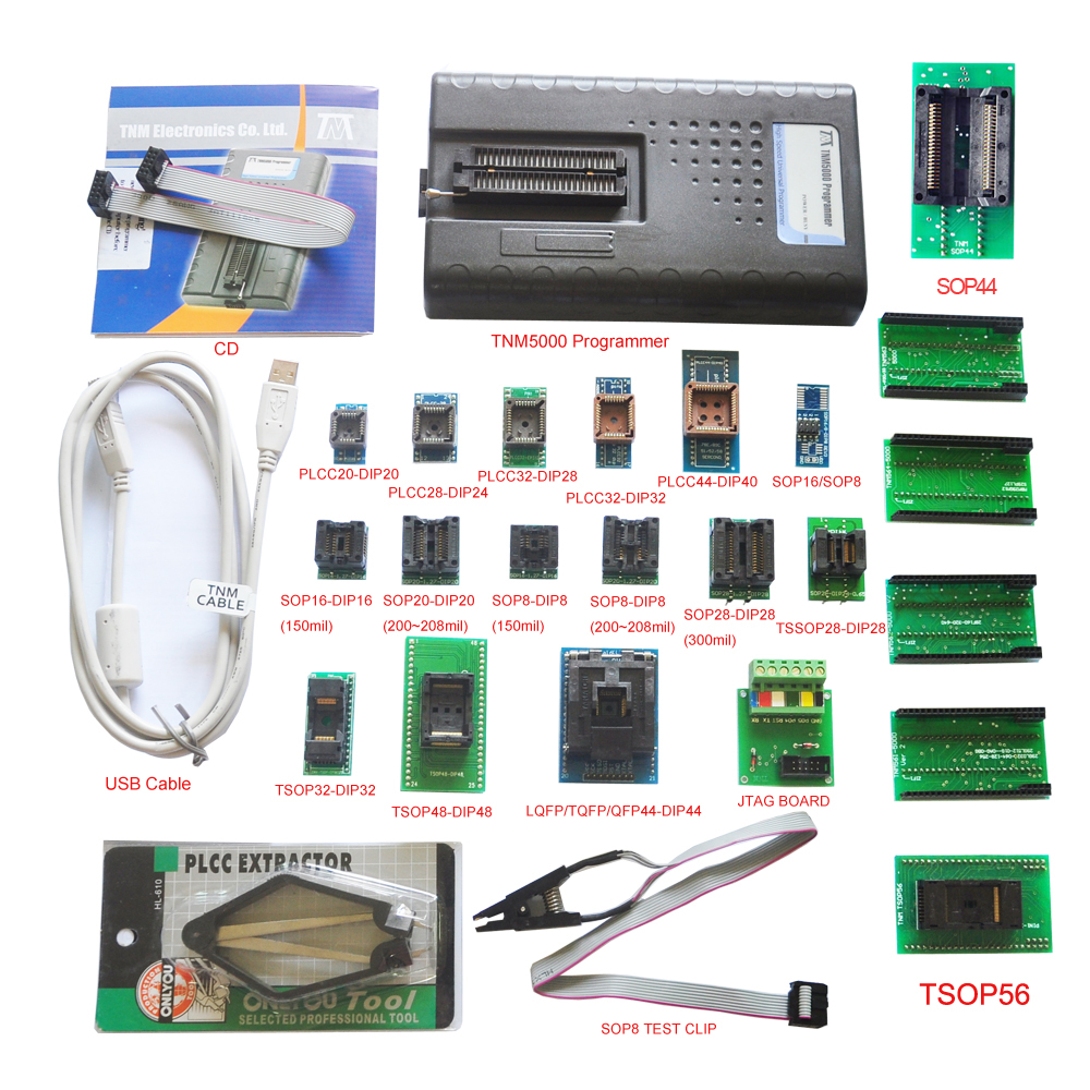 US $535 0 |2019 New TNM5000 EEPROM Universal Programmer recorder+18pc  adapter for NAND flash/EPROM/MCU/PLD/FPGA/ISP/JTAG,Support K9GAG08U0E-in