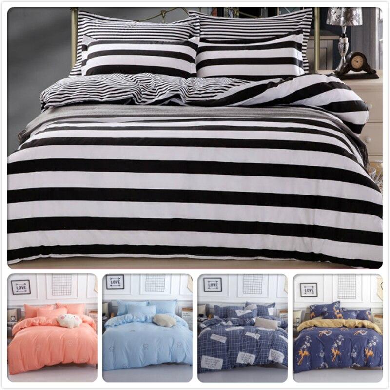 Black White Stripe 3/4 pcs Bedding Set 1.8m 2.0m 2.2m Bed Linens Flat Sheet Full King Queen Size Duvet Cover Bedclothes BedlinenBlack White Stripe 3/4 pcs Bedding Set 1.8m 2.0m 2.2m Bed Linens Flat Sheet Full King Queen Size Duvet Cover Bedclothes Bedlinen