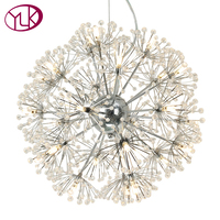 Creative Modern Crystal LED Chandelier For Living Room Dandelion Design Hanging Lighting Fixture Dining Room Lustres