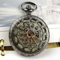Fluorescence Black Mechanical Pocket Watch Free Shipping Wholesale 2013 New Vintage Antique Necklace Steampunk For Mens