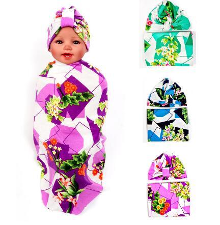 Bayi Membedung Selimut Set dengan Simpul Top India Topi Baru Lahir mandi  Hadiah Floral Parrern waddle 3480d748b5