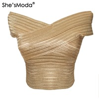 She SModa Luxury Gold Bandage Slash Neck Slim Women S Spandex Cropped Tops Vest Tank