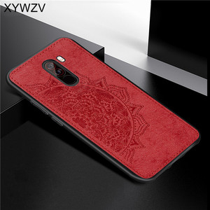 Image 1 - Xiaomi Pocophone F1 Case Soft TPU Silicone Cloth Texture Hard PC Phone Case For Xiaomi Pocophone F1 Cover Xiaomi Pocophone F1