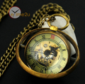 Unique Ball Glass Skeleton Mechanical Pocket Watch Steampunk Retro Pendant