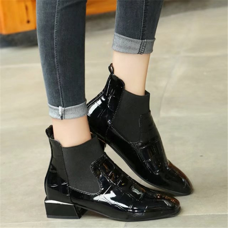 Botas Mujer Fashion Women Boots Square Heel Crocodile Pattern Zapatos Mujer PU Leather Ankle Boots Motorcycle Shoes Hot Sale
