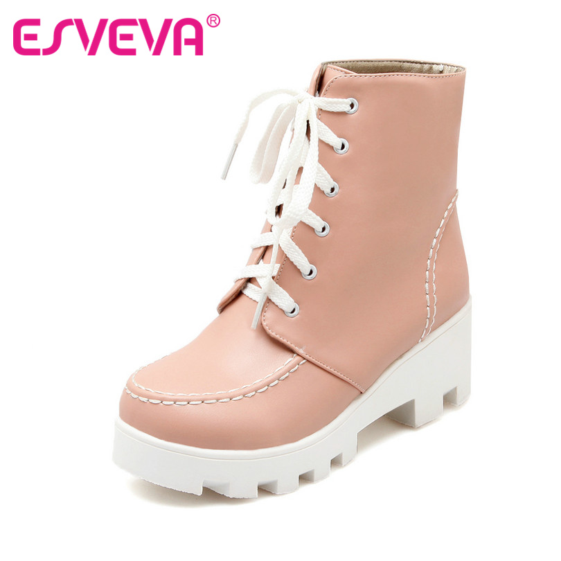 ESVEVA 2017 Women Boots Lace-Up Round Toe Women Square Med Heels Short Plush Platform Ankle Boots Winter Ladies Shoes Size 34-43 ouqinvshen round toe lace up women boots fashion mixed colors women ankle boots new winter short plush cross tied ladies boots