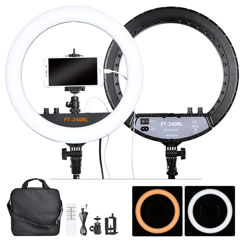 Fosoto FT 240RL Ring lamp 14 Inch Fotografische Verlichting 240 Leds 3200 5600K Camera Photo Studio Telefoon Led Ring light Remote-in Fotografieverlichting van Consumentenelektronica op  Groep 1