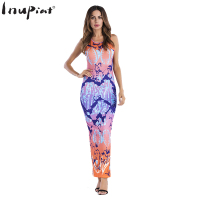 INUPIAT Sexy Mixed Color Dress for Ladies 2017 New European Style Sleeveless Tank Slim Ankle Length Dress for Female Vestidos