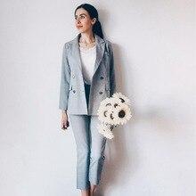 Lattice Women Korean Version British Antique Striped Pant Female Grid Suit Femme Fashion Long