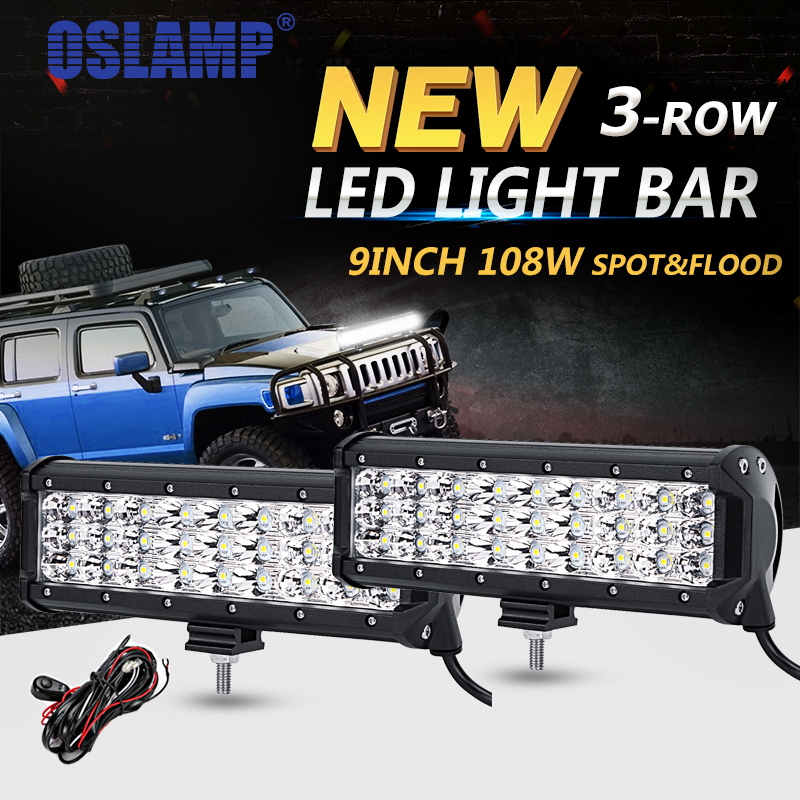 Oslamp 2pcs 9 108w 3 row led offroad light bar driving lamp combo oslamp 2pcs 9 108w 3 row led offroad light bar driving lamp combo beam led work lights 12v 24v truck suv atv 4wd 4x4 led bar in light barwork light from mozeypictures Images