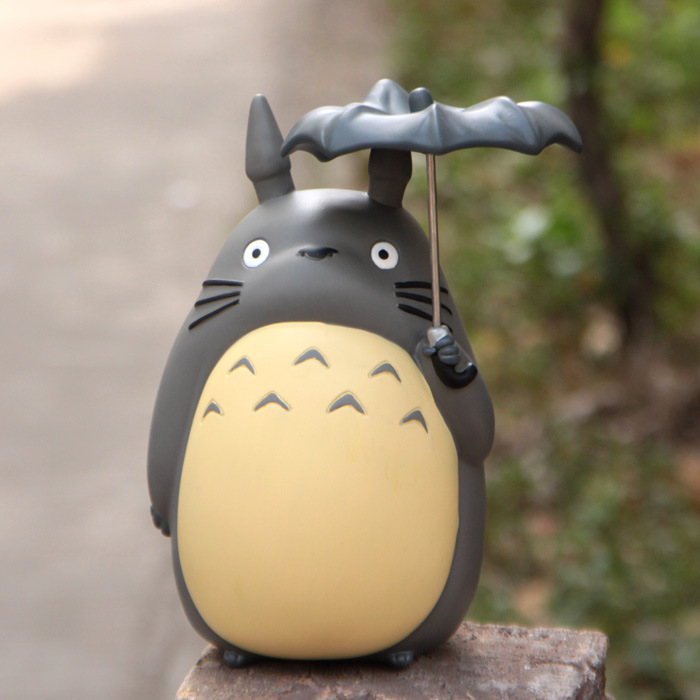 21CM Big Size Miyazaki Anime My Neighbor Totoro Umbrella Coin Bank Piggy Bank Money Saving Box Money box Figure Collection купить вилки и ложки из нержавейки столовые