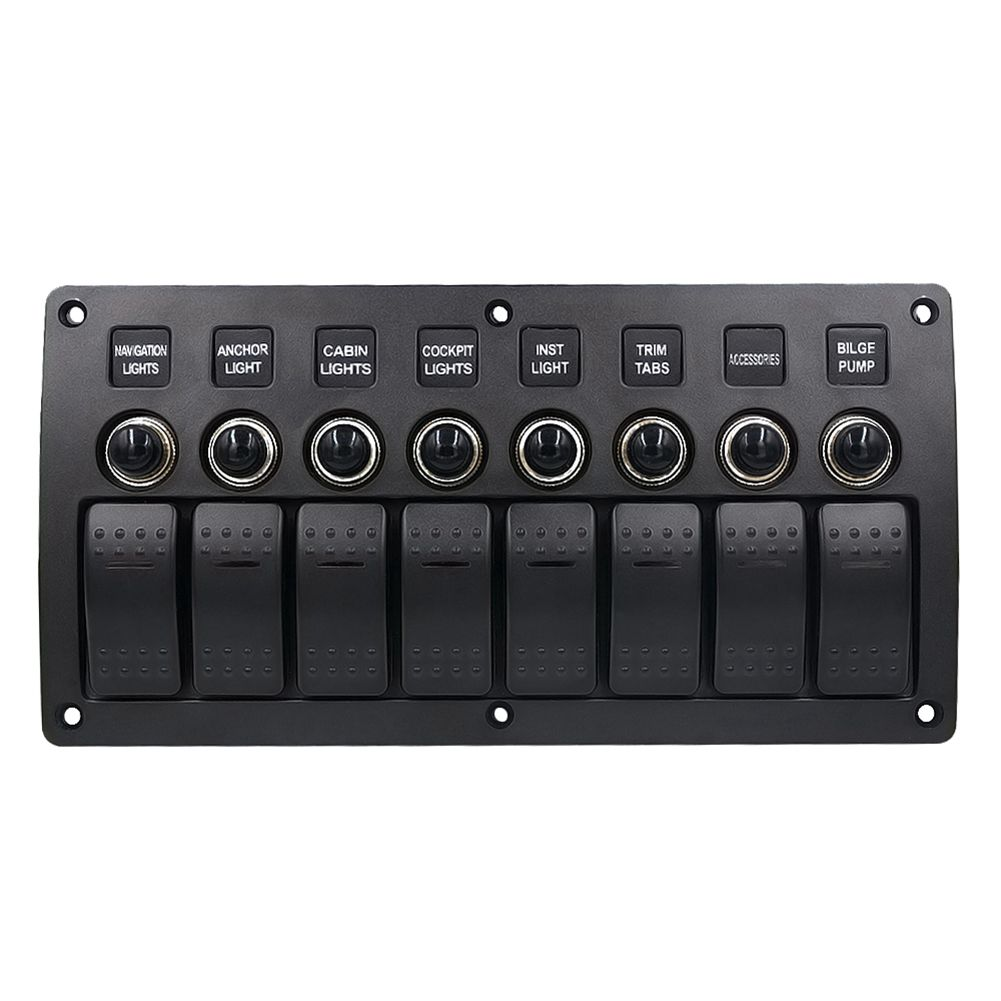 New Boat Car Marine Rocker Switch Panel 8 Gang 3PIN & Circuit Breaker Overload Protection Waterproof LED Switch Panel DC12/24V 15a dc output car auto boat marine led ac dc rocker switch waterproof panel dual power control overload protection