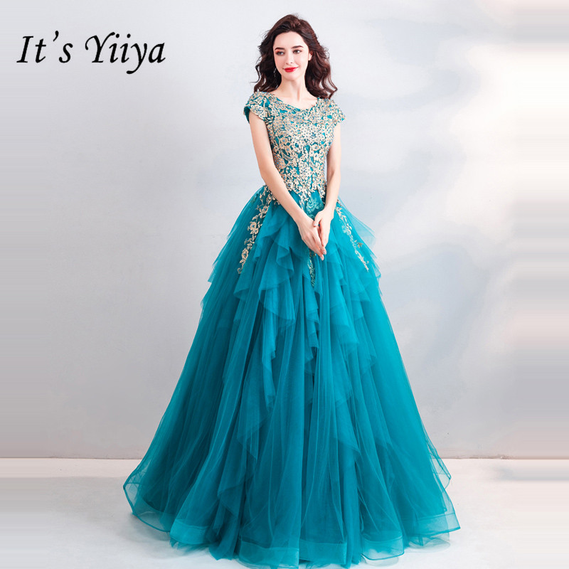 It's YiiYa   Prom   Gowns Blue O-neck Short Sleeves Ball Gown Floor Length Long Party   Dress   Custom Plus Size   Prom     Dresses   2019 E272