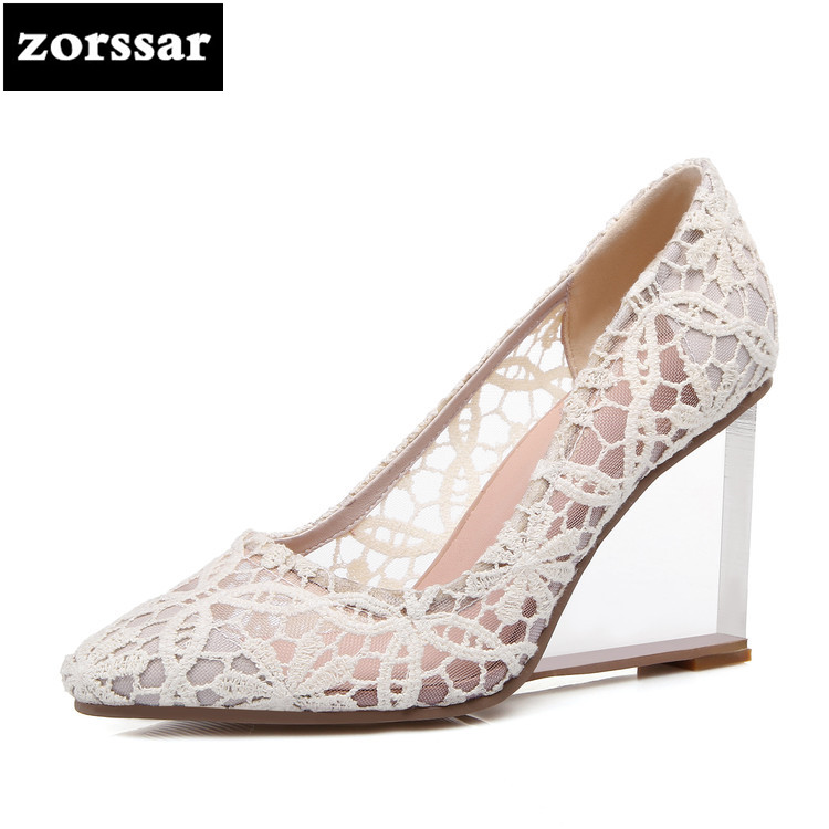 {zorssar} Ausschnitte Heels Spitz Fashion Atmungsaktiv Sommer 2018 New Gre BeigeSchwarzRot Wedges Plus Mesh Schuhe High Pumps 33 41 Damen k8wn0OP