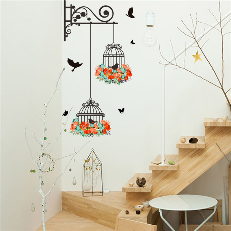 Romantic flying black bird birdcage wall sticker decals for Door mural decals
