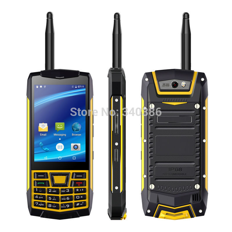 IP68 Waterproof Rugged Walkie Talkie Mobile Phone Android UNIWA N2 3.5 capacitive touch screen front back cameras SOS NFC Phone