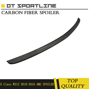 Real da Fibra do Carbono spoiler material preto fosco Estilo amg Traseira Do Caminhão DecorationFor para mercedes benz Classe E w212 2010- 2016