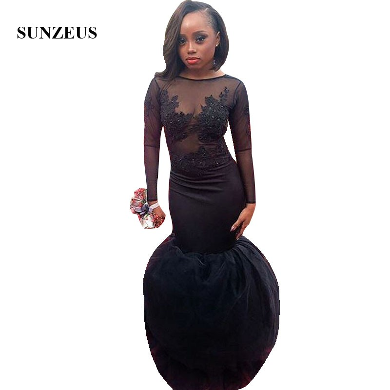 Mermaid Black   Prom   Gowns With Long Sleeves Appliques Illusion Bodice Trumpet Party   Dress   Long vestidos gala
