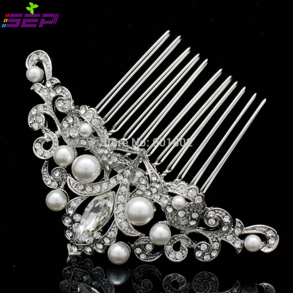 Flower imitation pearl hair pins comb inspired for bridal for Decor jewelry