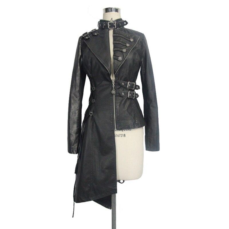 Devil Fashion Heavy Punk seksi asimetrične jakne od umjetne kože za - Ženska odjeća - Foto 4