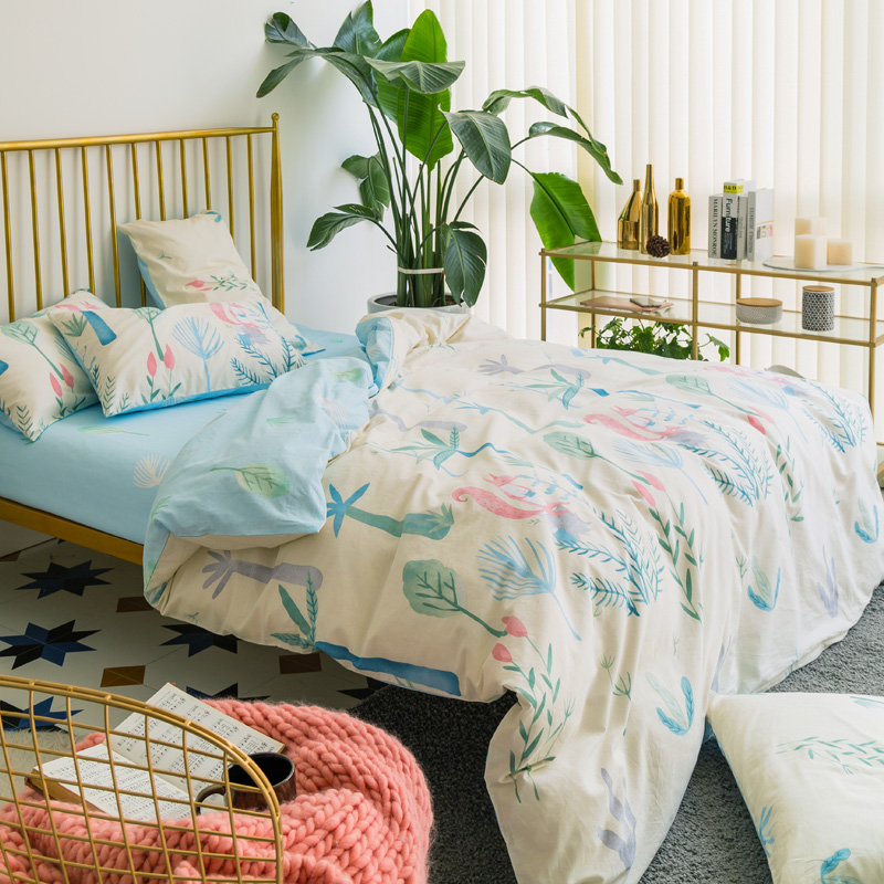Plants and Elf print Simple style Reactive Printing bedding set cotton fabric Queen Size duvet cover flat sheet pillowcase Plants and Elf print Simple style Reactive Printing bedding set cotton fabric Queen Size duvet cover flat sheet pillowcase