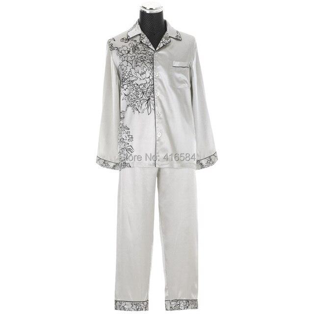Noble Satin Pajamas Mens Pajamas for Spring Autumn Simple Home Wear Silk Pajamas Lovers Pajamas for Couples Satin Sleepwear