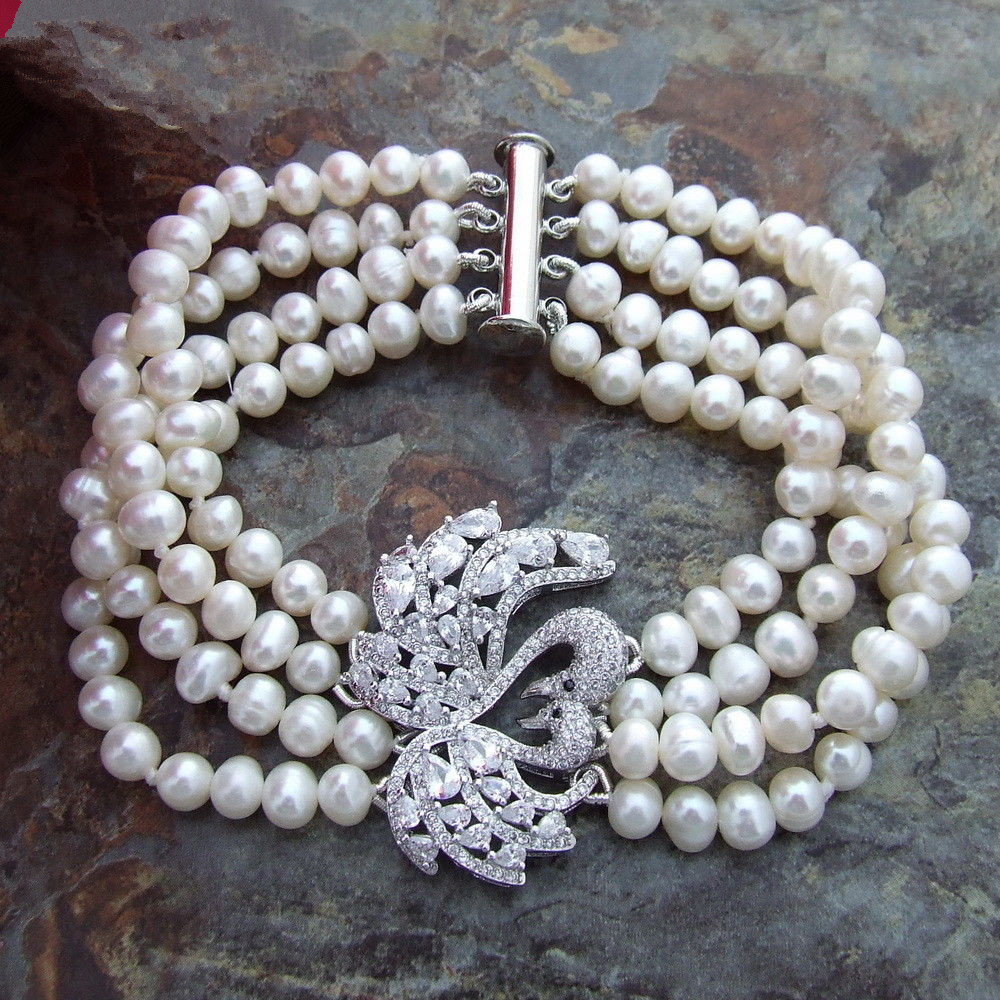 New Fashion contracted Natural Freshwater White Pearl Bracelet 8 4 Strands CZ connector