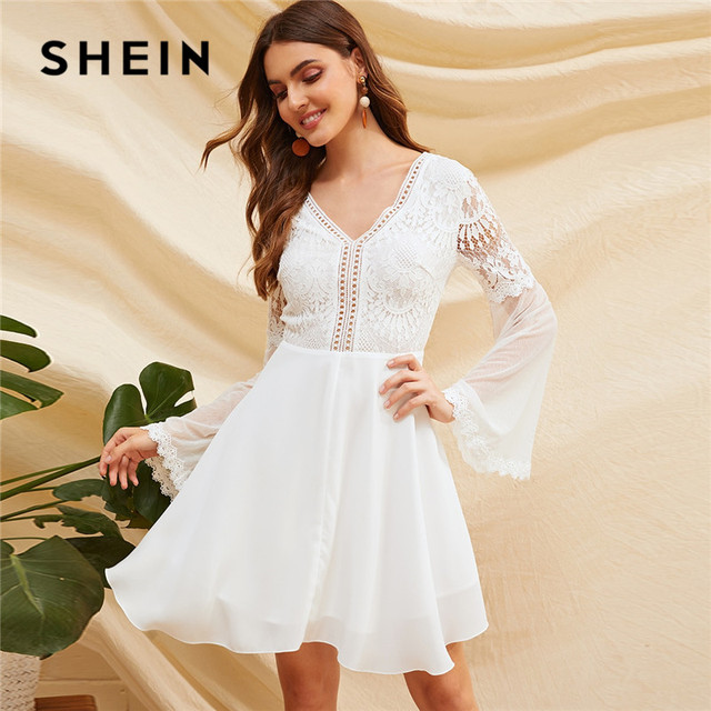 c480886c0e SHEIN Knot Backless Lace Bodice Mesh Sleeve Sexy Dress Women Solid V Neck Long  Sleeve White Dress A Line Spring Summer Dress